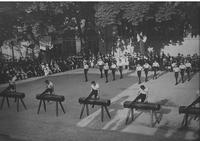 Saggio annuale nel cortile della Società. I ginnasti si esibivano in gruppi di sei in perfetto sincronismo.